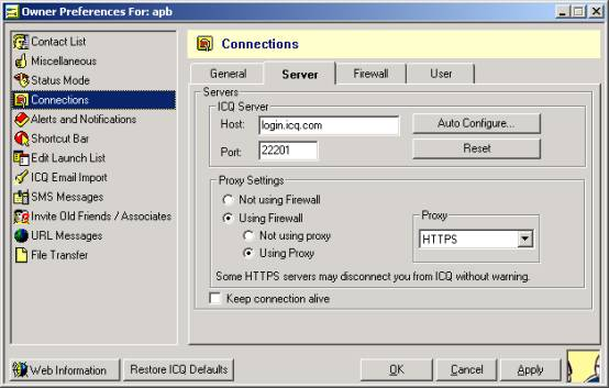 Настройка ICQ для работы через Wingate