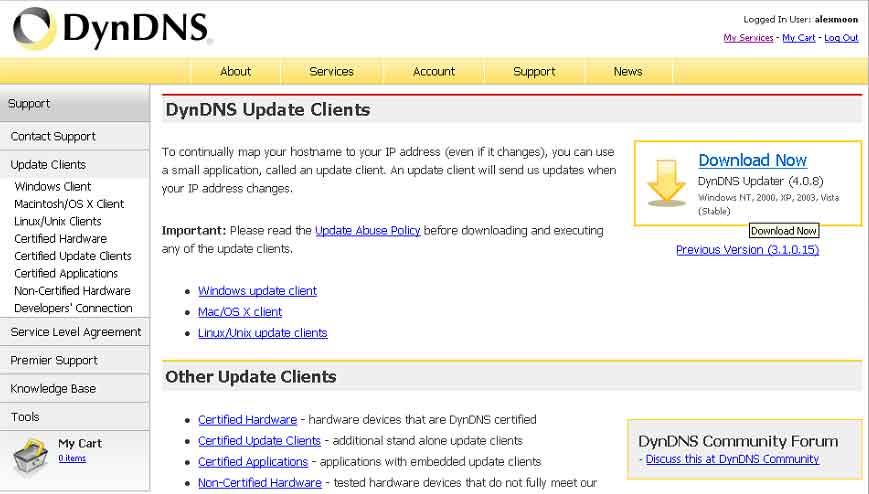 Сайт DynDNS